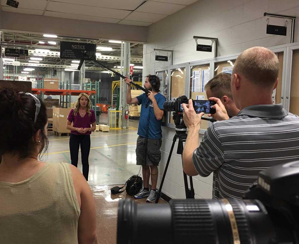Sarah Holsapple being filmed